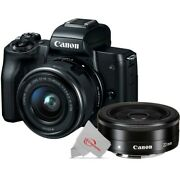 Canon Eos M50 Mirrorless Digital Camera Black With 15-45mm + Ef-m 22mm Stm Lens