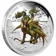 2013 1 Dragons Of Legend. Three Headed Dragon. 1oz Silver Proof Coin Perth Mint