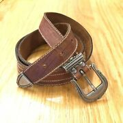 Vtg Mcm Made In Italy Brown Leather Womens Western Style Belt Benetton Sz L