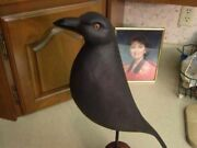 Myandnbsphand Carved Crow Decoy.....with 1/2 Pine Log Wooden Stand ..... Life Size 16