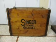 Enormous Antique Wooden Singer Sewing Machine Shipping Crate Made In To Table