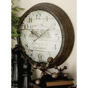 Wall Clock Round Battery Operated Rustic Iron Decor Vintage Farmhouse 23 Inch