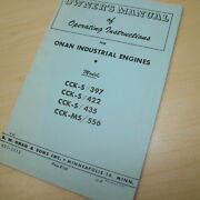 Onan Ck-s 397 422 435 Ms 556 Engine Owner Operator Operation Guide Book Manual