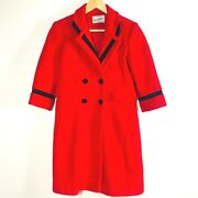 Rothschild Dress Winter Trench Coat Girls Size 7 Wool Vintage Red