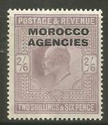 Stamps-morocco Agencies. 1907. 2/6d Pale Dull Purple. Sg 38. Mint Hinged