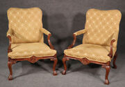 Gorgeous Pair Carved Walnut English Georgian Lounge Arm Parlor Chairs