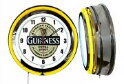 Guinness Extra Stout Beer 19 Double Neon Clock Yellow Neon Man Cave Garage Bar