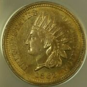 1862 Indian Head Cent 1c Anacs Ms-60 Unc Details Cleaned