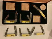 Case Cherokee Heritage 6 Piece Knife Collection With Yellow Handles - Mint Case
