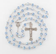 Light Sapphire Crystal Sterling Silver Rosary