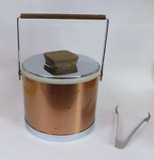 Vtg Mcm Kromex Ice Bucket Copper Chrome Wood Handles Usa With Tongs