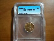 Rare 1959 D/d/d Lincoln Cent Icg Ms 65 Red Rpm 1 Fs-501