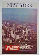 Northeast Airlines New York Vintage 1961 Travel Poster 24x35 Linen Nm