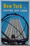 United Airlines New York Vintage Travel Poster 1962 25x40 Nm Linen Very Rare