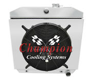 3row Champion Radiator 16 Spal Thin Fan And Shroud For 1957-1957 Chevy Cars V8