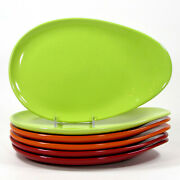 Crate And Barrel Large Snack 11.25 Plate Set 6pc Red Orange Green Oval Egg Shape
