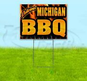 Michigan Bbq 18x24 Yard Sign With Stake Corrugated Bandit Business Barbecue