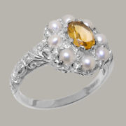 Solid 18ct White Gold Natural Citrine And Pearl Womens Cluster Ring - Sizes J To Z
