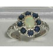 Solid 18ct White Gold Natural Opal And Sapphire Womens Cluster Ring - Sizes J To Z