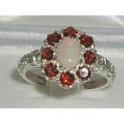 Solid 18ct White Gold Natural Opal And Garnet Womens Cluster Ring - Sizes J To Z