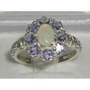 Solid 18ct White Gold Natural Opal And Tanzanite Womens Cluster Ring