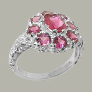Solid 18ct White Gold Natural Pink Tourmaline Womens Cluster Ring - Sizes J To Z