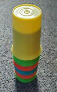 Vintage Lot Of 6 Tupperware Flat Sippy Bell Tumbler Cups - No Lids