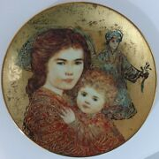 Edna Hibel Olivia And Hildy Motherand039s Day Collectors Plate The Royal Gold