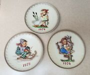 Lot 3 Vintage Goebel Mj Hummel 197419751976 Annual Collector 7-1/2andrsquoand039 Plates