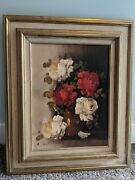 Beautiful Vintage Signed Floral Still Life Oil Painting By Artist A. Silver