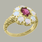 Solid 18ct Yellow Gold Natural Pink Tourmaline And Opal Womens Cluster Ring
