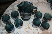 Iridescent Blue Carnival Glass Pitcher And 8 Tumbler Glasses Indiana Harvest Mint