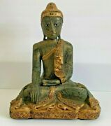 Vintage Thailand Thai Large Jeweled Seated Buddha In Carved Wood