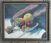 Maurice Sterne 1878-1957 Old Oil Painting Canvas Fruit Bowl Table Still Life