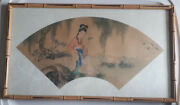 Vintage Old Original Chinese Fan Painting Signed Beautiful Woman Holding Flowers