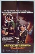 Where Eagles Dare One Sheet Movie Poster Style B 27x41 Clint Eastwood Burton 68