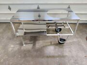 Large Big Green Egg Table With Large Rolling Casters