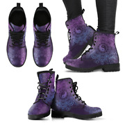 Purple Yinyang Mandala Handcrafted Womenand039s Vegan-friendly Leather Boots