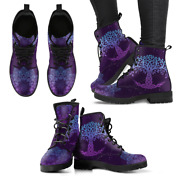 Purple Tree Of Life Handcrafted Womenand039s Booties Vegan-friendly Leather Boots