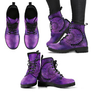 Purple Sun And Moon Handcrafted Womenand039s Boots Vegan-friendly Leather Booties
