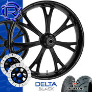 Rotation Delta Black Custom Motorcycle Wheels Package Harley Touring Baggers