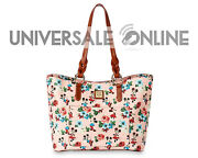 New Disney Dooney And Bourke Mickey And Minnie Mouse Floral Tote Bag Purse