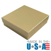 Gold Linen Cotton Filled Jewelry Display Packaging Gift Boxes Lots 102550100