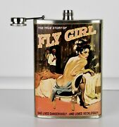 Very Rare - Andldquofly Girlandrdquo Pin-up Art Stainless Steel 8 Oz. Flask By Trixie And Milo