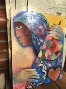 African Contemporary Artist Oil Painting 2016 Original Signed Great Colors