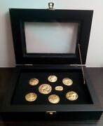 . Complete Set Of 8 Silver Coins In Excellent Condition With Glass/wood Case