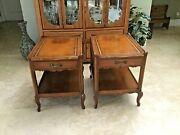 Stunning Weiman Heirloom Antique Leather Top Gold Embossed End Tables