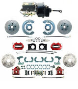 Front And Rear Mustang 1964-66 Power Disc Brakes, D/s Rotors And Red Pc Calipers