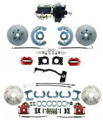 Deluxe 1967-69 Mustang Front And Rear Disc Conversion D/s Rotors And Red Pc Calipers