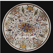 48 X 48 Marble Coffee Table Top Pietra Dura Floral Handmade Inlay Work